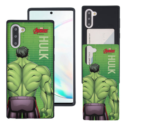 Galaxy Note10 Case (6.3inch) Marvel Avengers Slim Slider Card Slot Dual Layer Holder Bumper Cover - Back Hulk