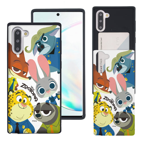 Galaxy Note10 Plus Case (6.8inch) Disney Zootopia Dual Layer Card Slide Slot Wallet Bumper Cover - Zootopia Big