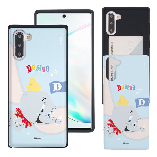 Galaxy Note10 Plus Case (6.8inch) Disney Dumbo Slim Slider Card Slot Dual Layer Holder Bumper Cover - Dumbo Fly
