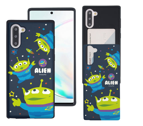 Galaxy Note10 Case (6.3inch) Toy Story Slim Slider Card Slot Dual Layer Holder Bumper Cover - Pattern Alien Space