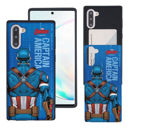 Galaxy Note10 Plus Case (6.8inch) Marvel Avengers Slim Slider Card Slot Dual Layer Holder Bumper Cover - Back Captain America