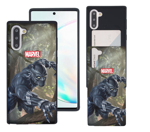 Galaxy Note10 Plus Case (6.8inch) Marvel Avengers Slim Slider Card Slot Dual Layer Holder Bumper Cover - Black Panther Jungle
