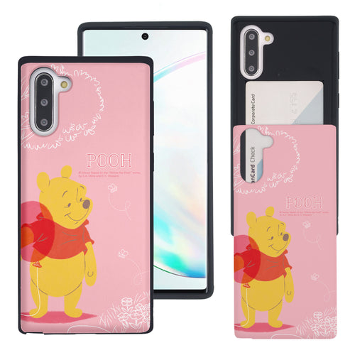 Galaxy Note10 Plus Case (6.8inch) Disney Pooh Slim Slider Card Slot Dual Layer Holder Bumper Cover - Balloon Pooh Ground