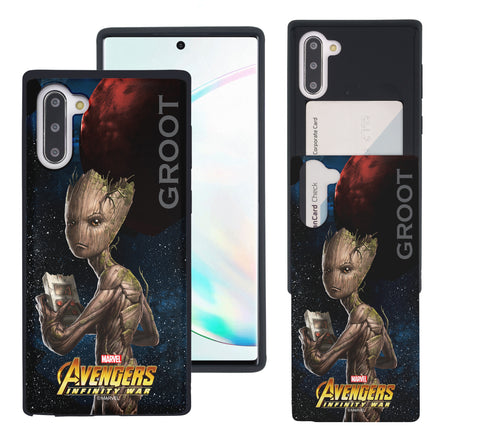 Galaxy Note10 Case (6.3inch) Marvel Avengers Slim Slider Card Slot Dual Layer Holder Bumper Cover - Infinity War Groot