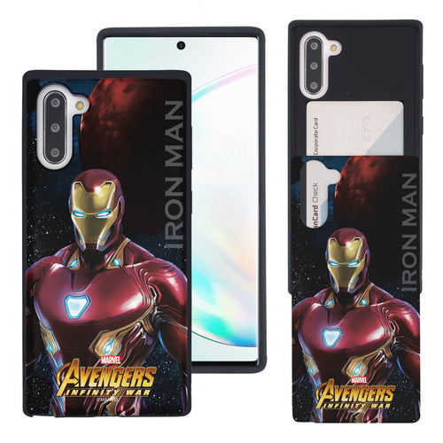 Galaxy Note10 Case (6.3inch) Marvel Avengers Slim Slider Card Slot Dual Layer Holder Bumper Cover - Infinity War Iron Man