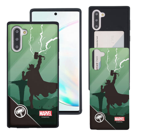 Galaxy Note10 Plus Case (6.8inch) Marvel Avengers Slim Slider Card Slot Dual Layer Holder Bumper Cover - Shadow Thor