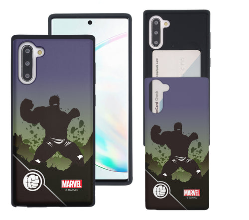 Galaxy Note10 Case (6.3inch) Marvel Avengers Slim Slider Card Slot Dual Layer Holder Bumper Cover - Shadow Hulk