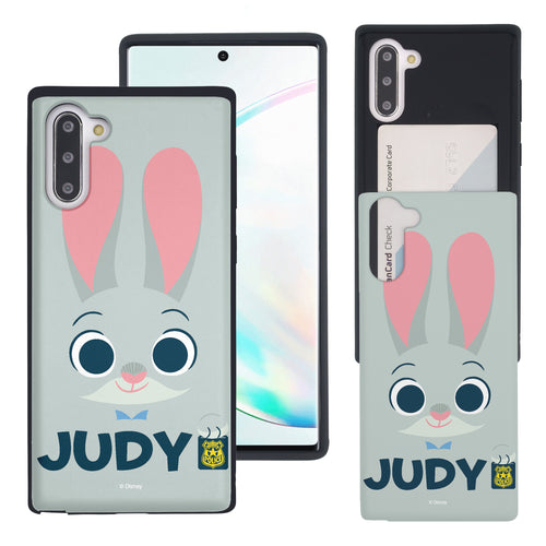 Galaxy Note10 Plus Case (6.8inch) Disney Zootopia Dual Layer Card Slide Slot Wallet Bumper Cover - Face Judy