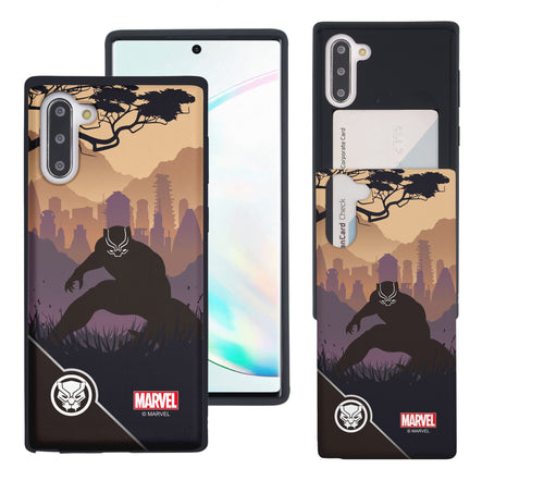 Galaxy Note10 Plus Case (6.8inch) Marvel Avengers Slim Slider Card Slot Dual Layer Holder Bumper Cover - Shadow Black Panther
