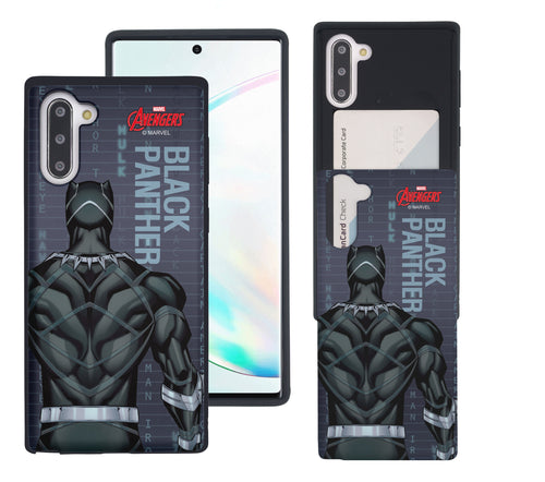 Galaxy Note10 Plus Case (6.8inch) Marvel Avengers Slim Slider Card Slot Dual Layer Holder Bumper Cover - Back Black Panther