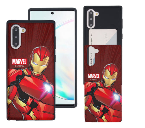Galaxy Note10 Plus Case (6.8inch) Marvel Avengers Slim Slider Card Slot Dual Layer Holder Bumper Cover - Illustration Iron Man