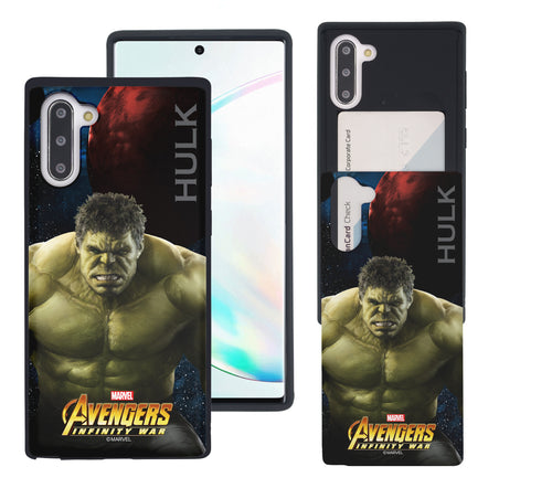 Galaxy Note10 Plus Case (6.8inch) Marvel Avengers Slim Slider Card Slot Dual Layer Holder Bumper Cover - Infinity War Hulk