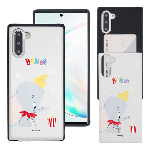 Galaxy Note10 Plus Case (6.8inch) Disney Dumbo Slim Slider Card Slot Dual Layer Holder Bumper Cover - Dumbo Popcorn