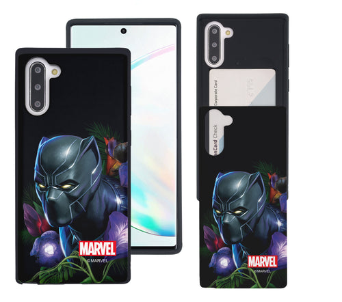 Galaxy Note10 Plus Case (6.8inch) Marvel Avengers Slim Slider Card Slot Dual Layer Holder Bumper Cover - Black Panther Face Black