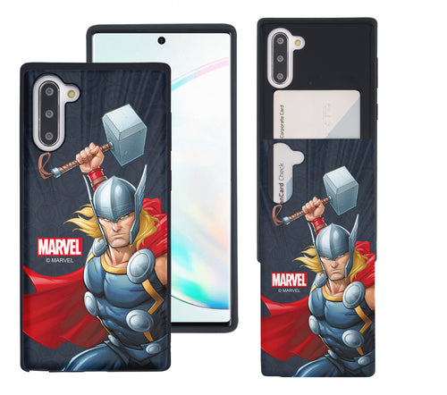 Galaxy Note10 Plus Case (6.8inch) Marvel Avengers Slim Slider Card Slot Dual Layer Holder Bumper Cover - Illustration Thor
