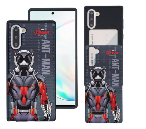 Galaxy Note10 Plus Case (6.8inch) Marvel Avengers Slim Slider Card Slot Dual Layer Holder Bumper Cover - Back Ant Man