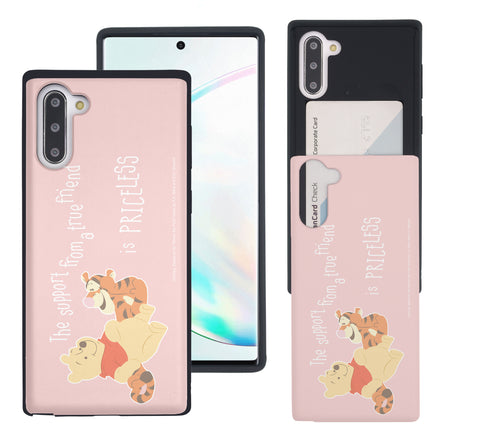 Galaxy Note10 Plus Case (6.8inch) Disney Pooh Slim Slider Card Slot Dual Layer Holder Bumper Cover - Words Pooh Tigger