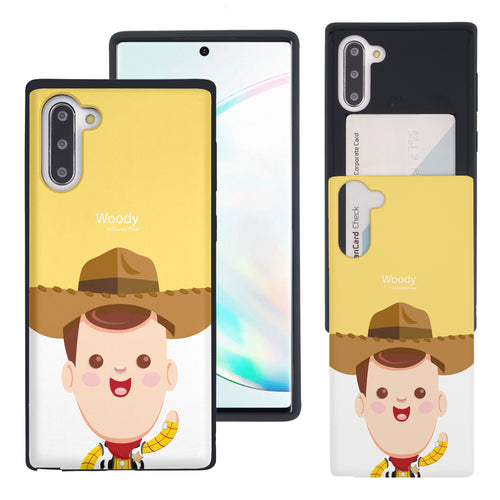 Galaxy Note10 Case (6.3inch) Toy Story Slim Slider Card Slot Dual Layer Holder Bumper Cover - Baby Woody