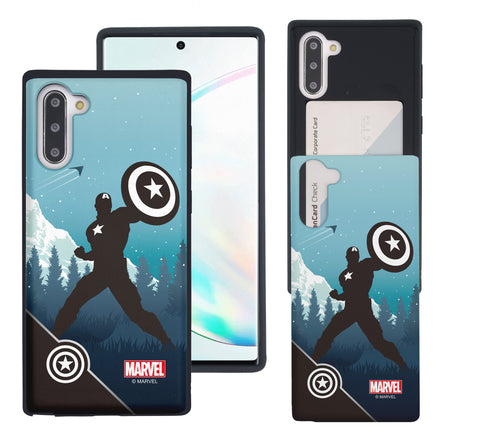 Galaxy Note10 Case (6.3inch) Marvel Avengers Slim Slider Card Slot Dual Layer Holder Bumper Cover - Shadow Captain America