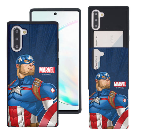 Galaxy Note10 Case (6.3inch) Marvel Avengers Slim Slider Card Slot Dual Layer Holder Bumper Cover - Illustration Captain America