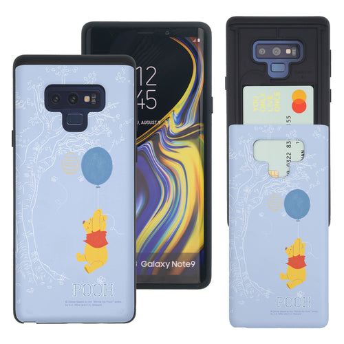 Galaxy Note9 Case Disney Pooh Slim Slider Card Slot Dual Layer Holder Bumper Cover - Balloon Pooh Sky