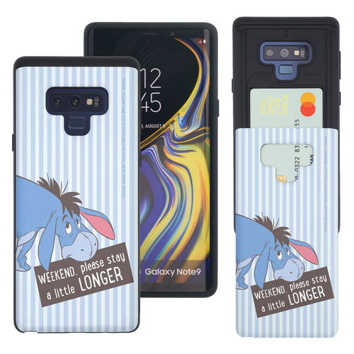 Galaxy Note9 Case Disney Pooh Slim Slider Card Slot Dual Layer Holder Bumper Cover - Words Eeyore Stripe