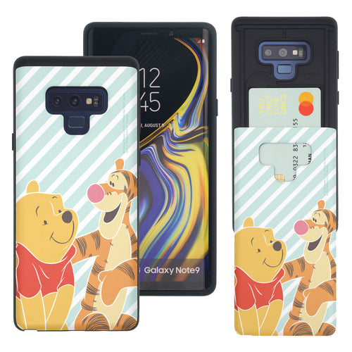 Galaxy Note9 Case Disney Pooh Slim Slider Card Slot Dual Layer Holder Bumper Cover - Stripe Pooh Tigger