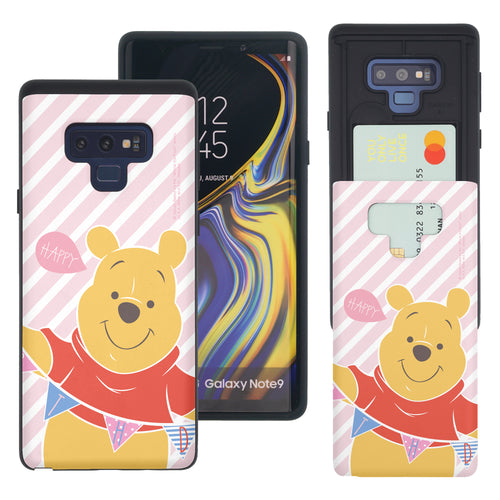 Galaxy Note9 Case Disney Pooh Slim Slider Card Slot Dual Layer Holder Bumper Cover - Stripe Pooh Happy