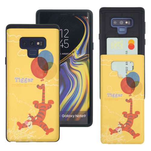 Galaxy Note9 Case Disney Pooh Slim Slider Card Slot Dual Layer Holder Bumper Cover - Balloon Tigger