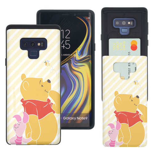 Galaxy Note9 Case Disney Pooh Slim Slider Card Slot Dual Layer Holder Bumper Cover - Stripe Pooh Bee