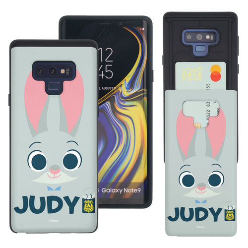 Galaxy Note9 Case Disney Zootopia Dual Layer Card Slide Slot Wallet Bumper Cover - Face Judy