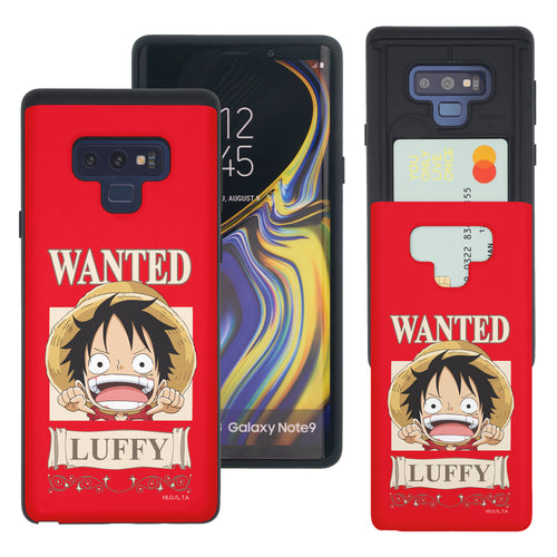 Galaxy Note9 Case ONE PIECE Slim Slider Card Slot Dual Layer Holder Bumper Cover - Mini Luffy