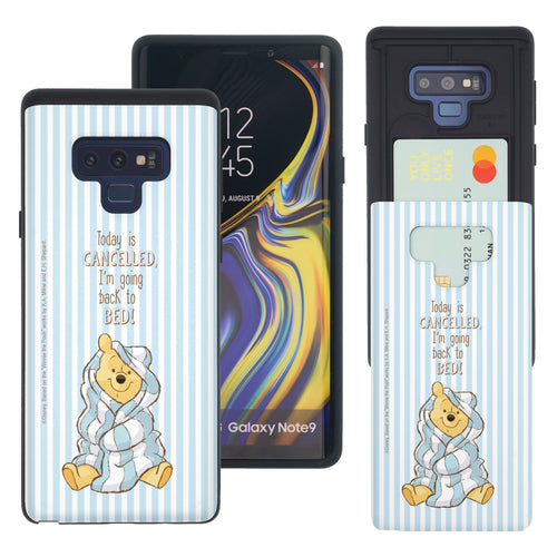 Galaxy Note9 Case Disney Pooh Slim Slider Card Slot Dual Layer Holder Bumper Cover - Words Pooh Stripe