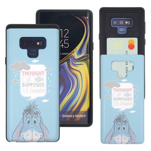 Galaxy Note9 Case Disney Pooh Slim Slider Card Slot Dual Layer Holder Bumper Cover - Words Eeyore Face