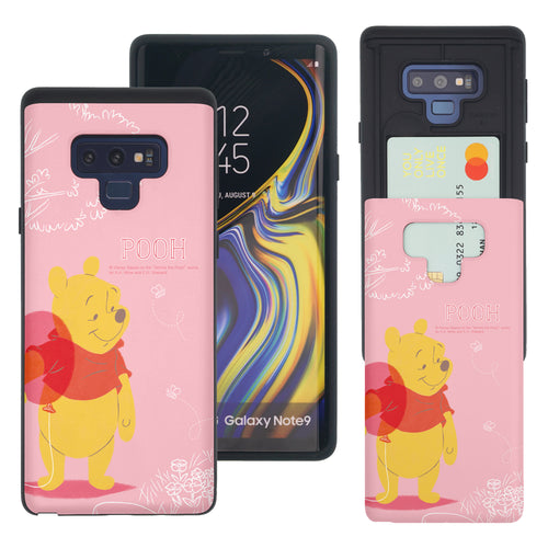 Galaxy Note9 Case Disney Pooh Slim Slider Card Slot Dual Layer Holder Bumper Cover - Balloon Pooh Ground