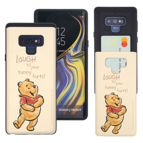 Galaxy Note9 Case Disney Pooh Slim Slider Card Slot Dual Layer Holder Bumper Cover - Words Pooh Laugh
