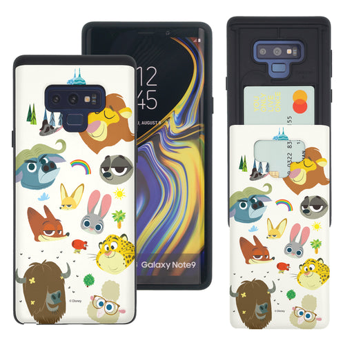 Galaxy Note9 Case Disney Zootopia Dual Layer Card Slide Slot Wallet Bumper Cover - Zootopia Small