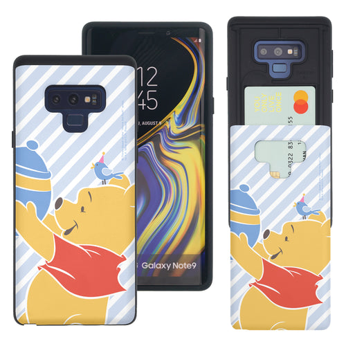Galaxy Note9 Case Disney Pooh Slim Slider Card Slot Dual Layer Holder Bumper Cover - Stripe Pooh Bird