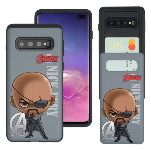 Galaxy S10 5G Case (6.7inch) Marvel Avengers Slim Slider Card Slot Dual Layer Holder Bumper Cover - Mini Nick Fury
