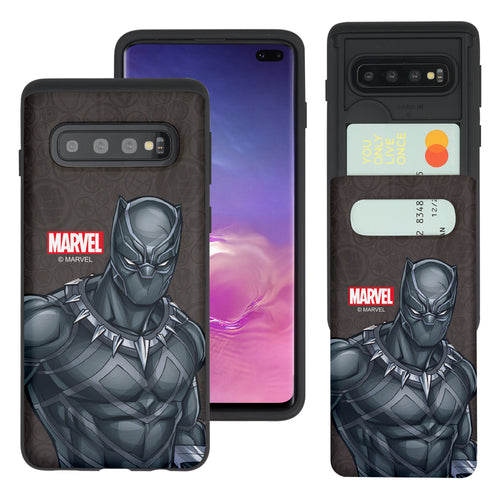 Galaxy S10 Plus Case (6.4inch) Marvel Avengers Slim Slider Card Slot Dual Layer Holder Bumper Cover - Illustration Black Panther