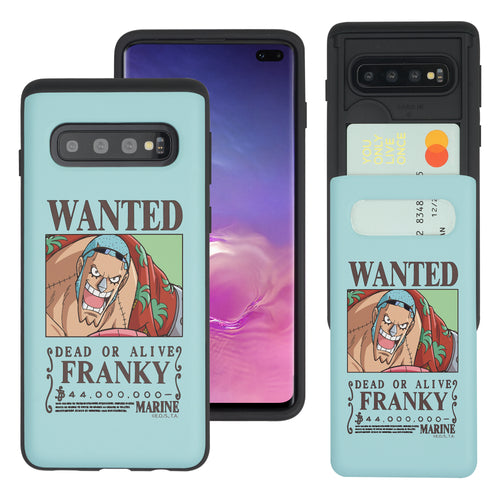 Galaxy S10 Plus Case (6.4inch) ONE PIECE Slim Slider Card Slot Dual Layer Holder Bumper Cover - Look Franky