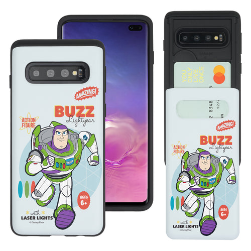 Galaxy S10 Plus Case (6.4inch) Toy Story Slim Slider Card Slot Dual Layer Holder Bumper Cover - Full Buzz