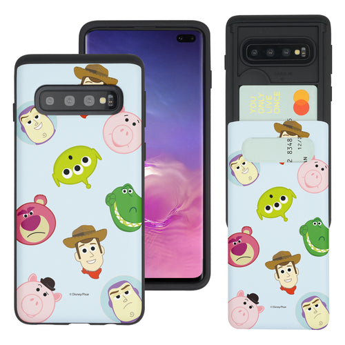 Galaxy S10 Plus Case (6.4inch) Toy Story Slim Slider Card Slot Dual Layer Holder Bumper Cover - Pattern Face