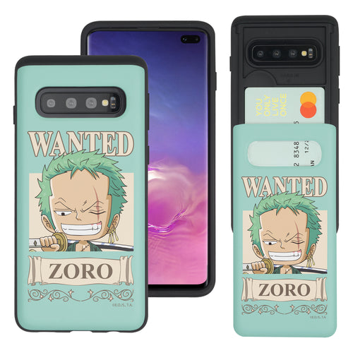 Galaxy S10 5G Case (6.7inch) ONE PIECE Slim Slider Card Slot Dual Layer Holder Bumper Cover - Mini Zoro
