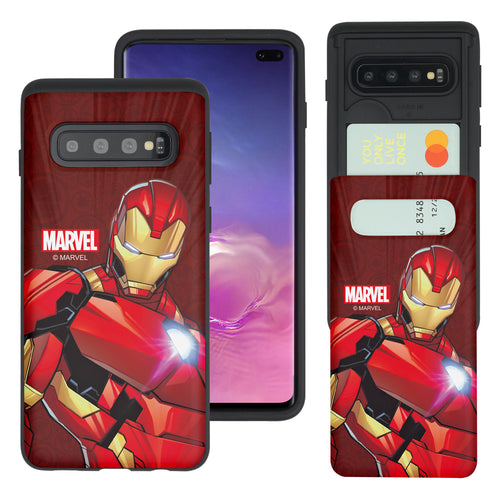 Galaxy S10 5G Case (6.7inch) Marvel Avengers Slim Slider Card Slot Dual Layer Holder Bumper Cover - Illustration Iron Man