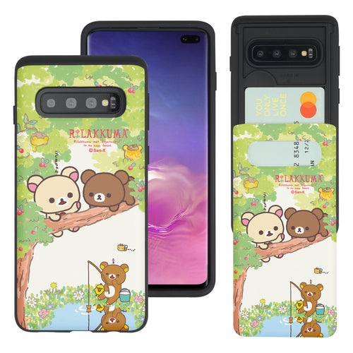 Galaxy S10e Case (5.8inch) Rilakkuma Slim Slider Card Slot Dual Layer Holder Bumper Cover - Rilakkuma Forest
