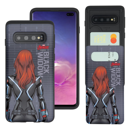 Galaxy S10 Plus Case (6.4inch) Marvel Avengers Slim Slider Card Slot Dual Layer Holder Bumper Cover - Back Black Widow