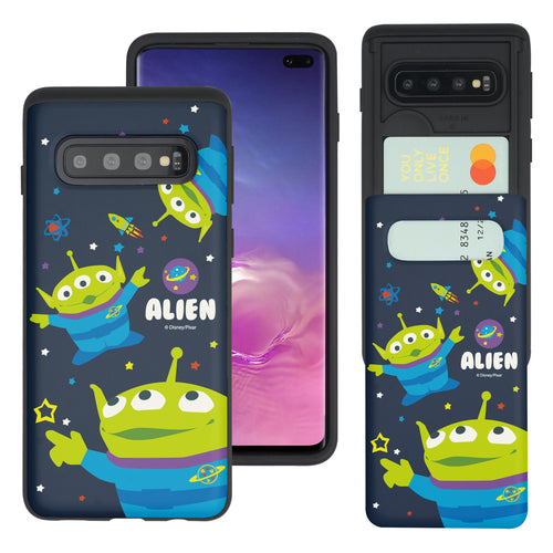Galaxy S10 Plus Case (6.4inch) Toy Story Slim Slider Card Slot Dual Layer Holder Bumper Cover - Pattern Alien Space