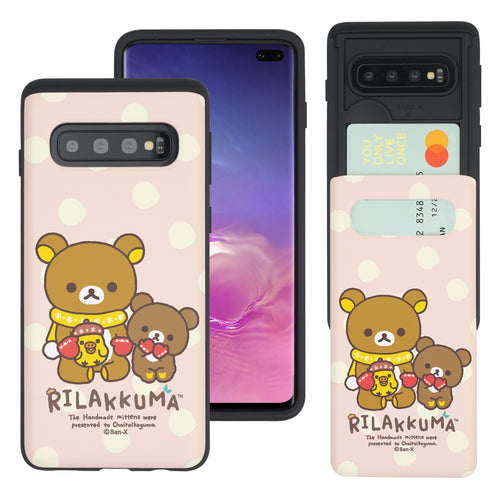 Galaxy S10e Case (5.8inch) Rilakkuma Slim Slider Card Slot Dual Layer Holder Bumper Cover - Chairoikoguma Sit