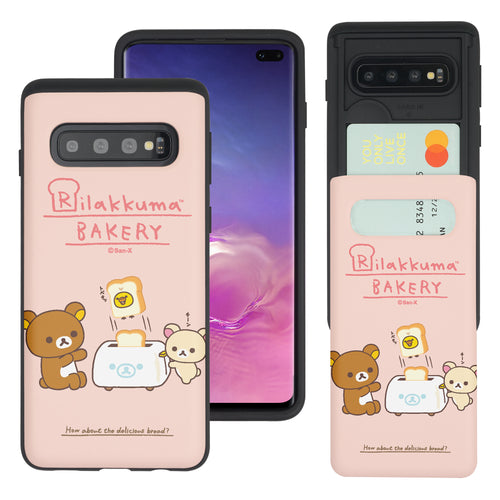 Galaxy S10e Case (5.8inch) Rilakkuma Slim Slider Card Slot Dual Layer Holder Bumper Cover - Rilakkuma Toast